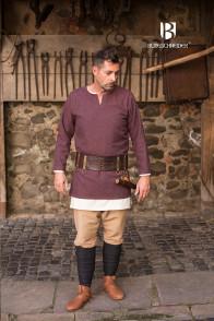 Herringbone Woven Tunic Tyr - Burgundy/Grey